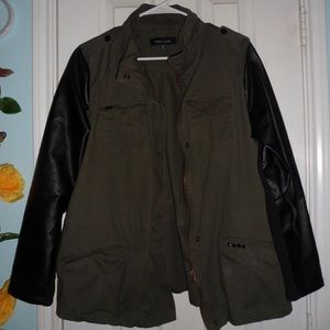 Green Jacket with Faux Leather Sleeves